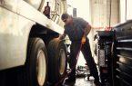 Truck drive touching truck tire
